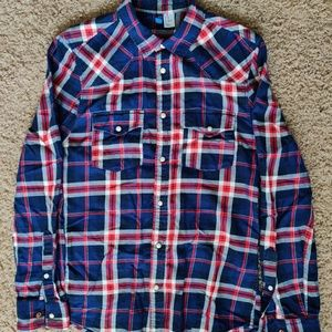 H&M Western-Style Plaid Shirt, Blue/Red